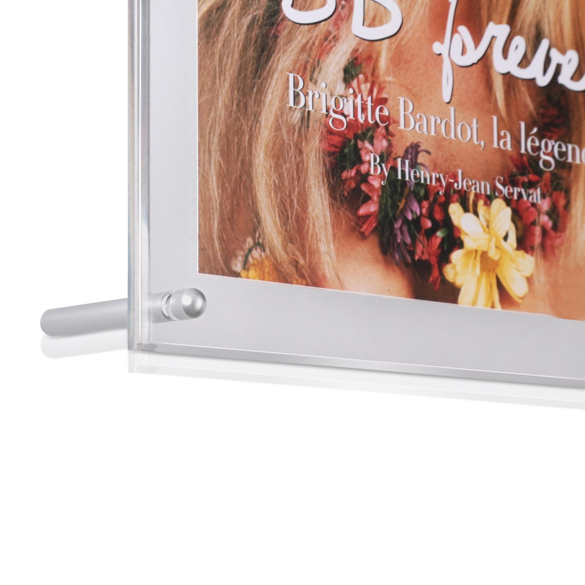 12 1/2'' x 10'' Clear Acrylic Frame Kit with 3'' Clear Anodized Aluminum Rounded Desktop Standoffs