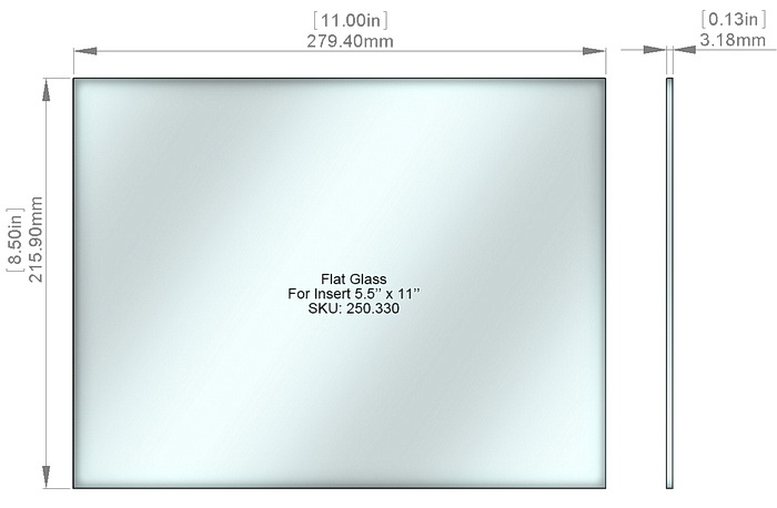 Flat Tempered Glass 8 1/2'' x 11'', NO pre-drilled holes