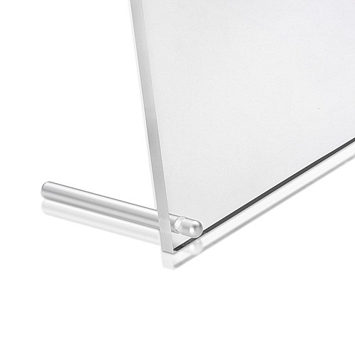 12 1/2'' x 10'' Clear Acrylic Frame Kit with 3'' Clear Anodized Aluminum Cylinder Desktop Standoffs