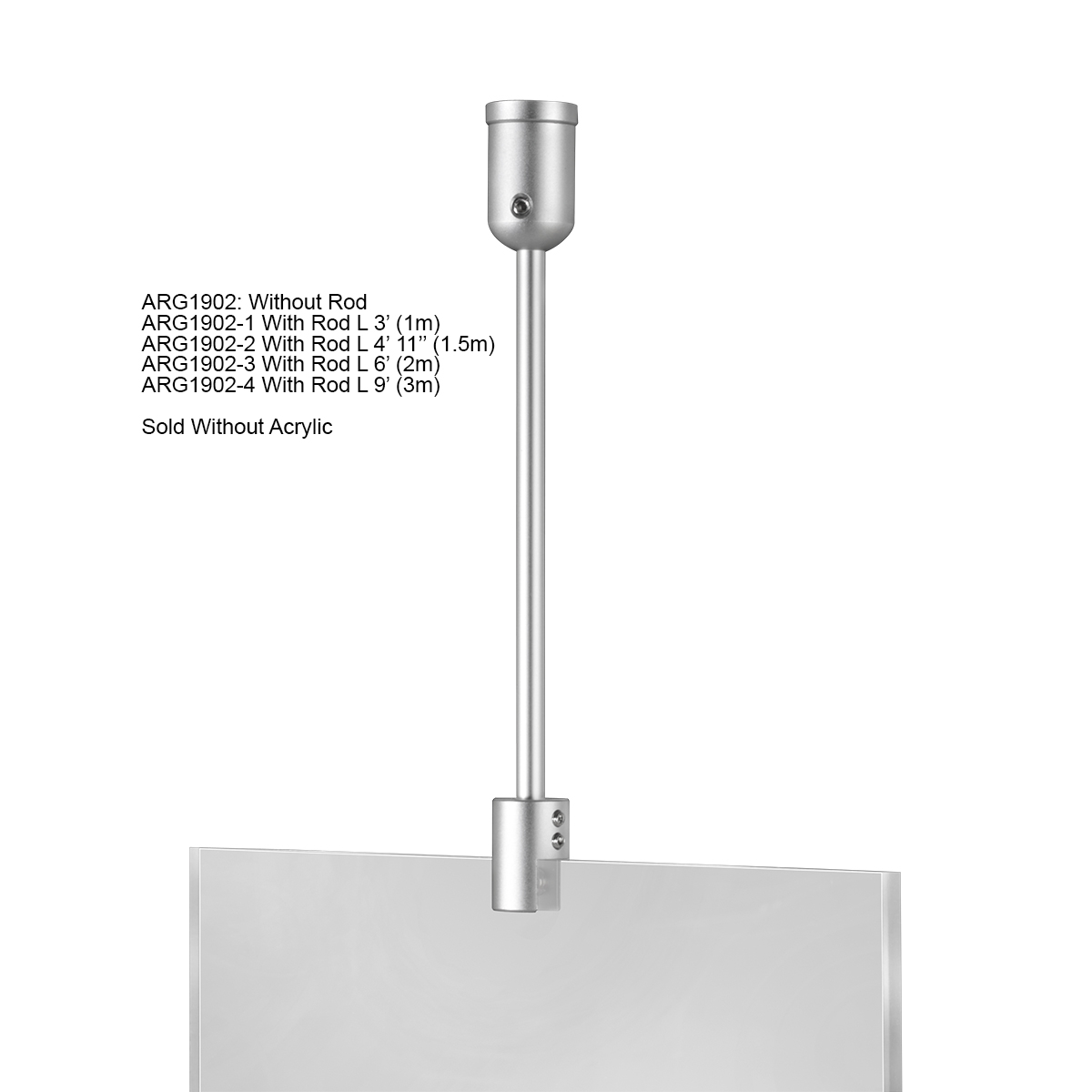 Ceiling Suspended Rod Kit - 4' 11'' - Aluminum Mounts - Stainless Steel Rod