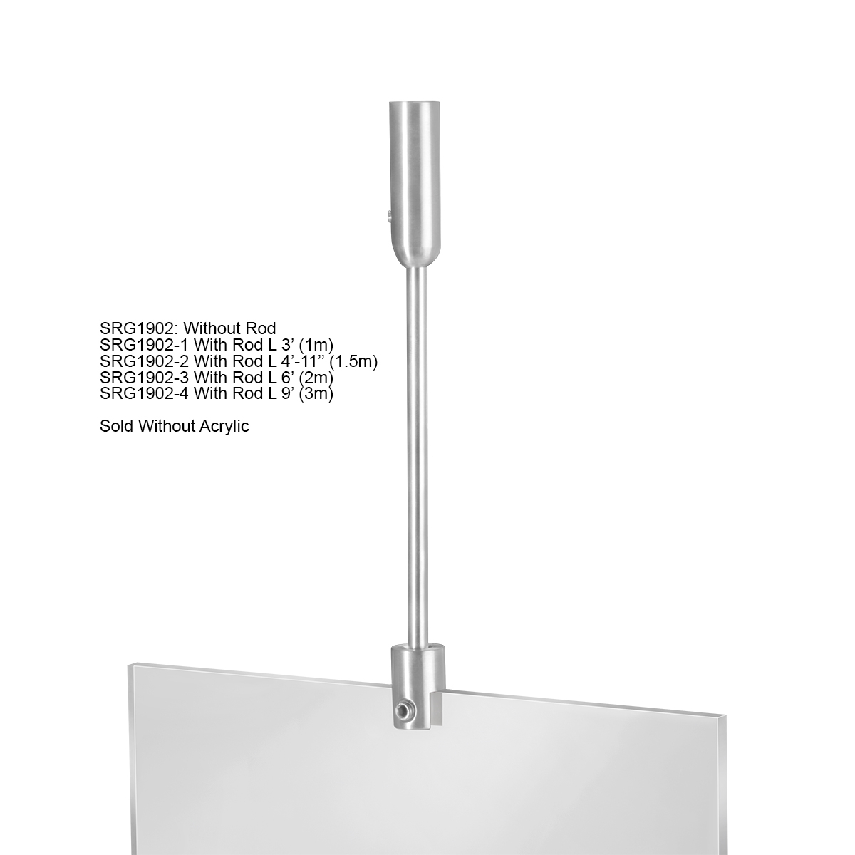Ceiling Suspended Rod Kit - 3' - Stainless Steel