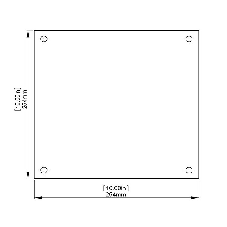 Flat Tempered Glass 10'' x 10'', 4 pre-drilled 3/8 holes