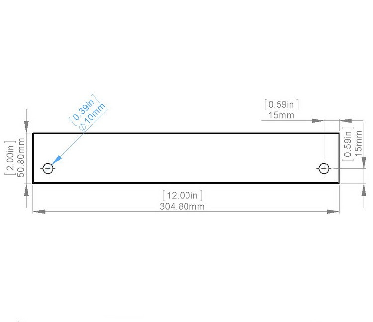Flat Tempered Glass 12'' x 2'', 2 pre-drilled 3/8 holes