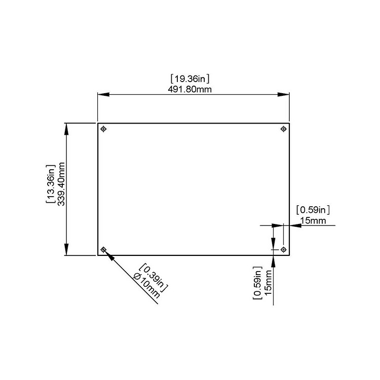 Flat Tempered Glass 19.36'' x 13.36'' x 3/16'''' thickness, 4 pre-drilled holes 3/8'' Diameter