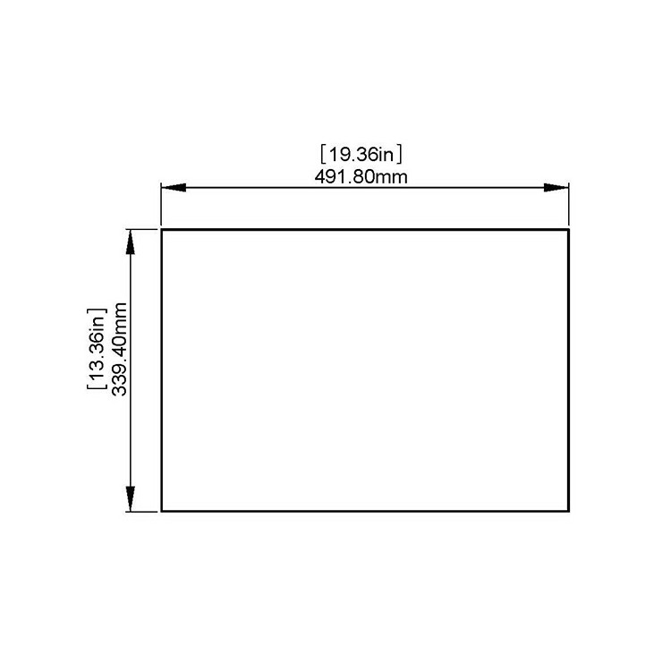 Flat Tempered Glass 19 3/8'' x 13 3/8'', NO pre-drilled holes