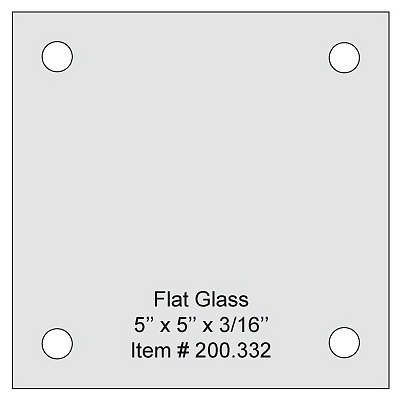 Flat Tempered Glass 5'' x 5'', 4 pre-drilled 3/8 holes