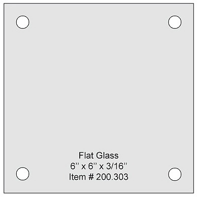 Flat Tempered Glass 6'' x 6''x 5/32'', 4 pre-drilled 3/8 holes