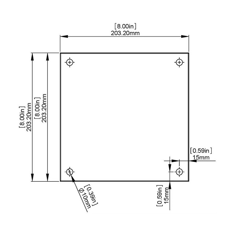 Flat Tempered Glass 8'' x 8'' 5/32'', 4 pre-drilled 3/8 holes