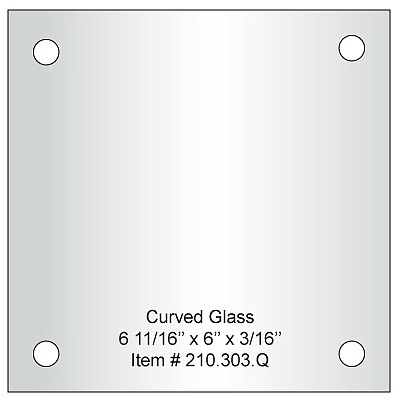 Pair of Curved Glass 6'' x 6'', 4 pre-drilled 3/8 holes