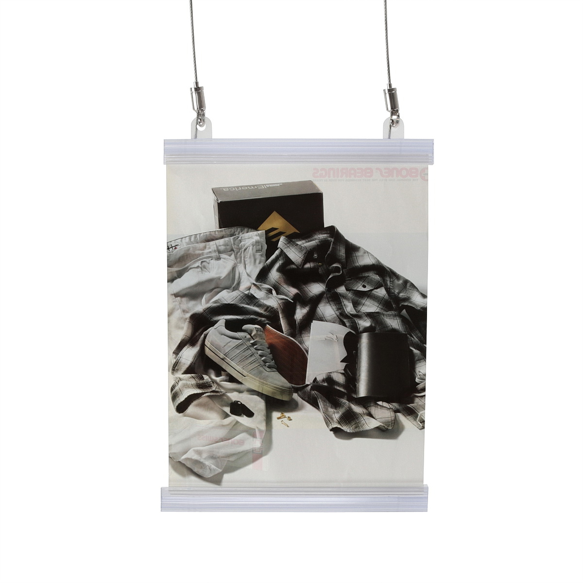Clear Plastic Banner Rails, Hinged Easy Snap Open System, 8.5'' Length