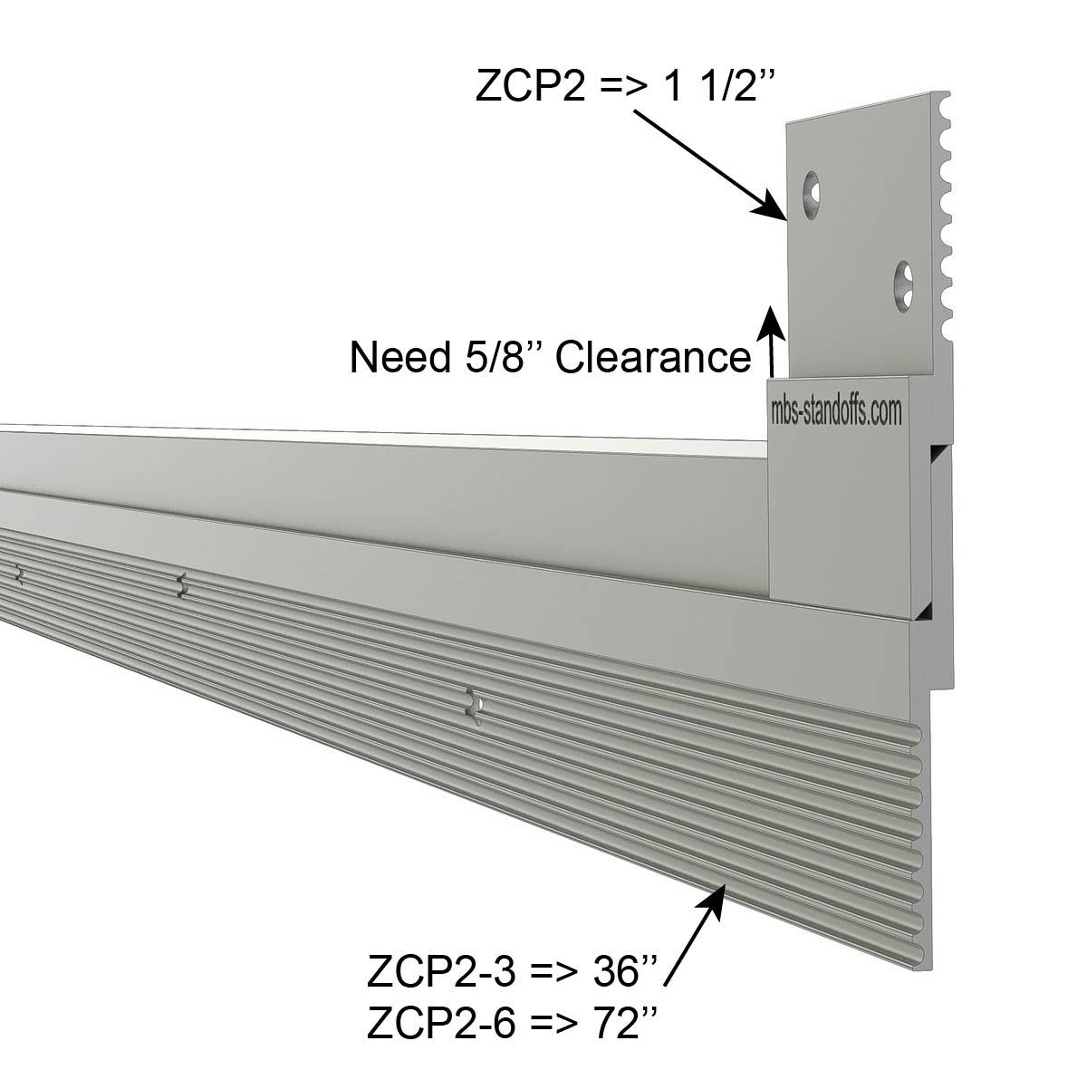 Aluminum Z-Clip 6 ft (72'') 1 1/2'' Light to Medium Duty
